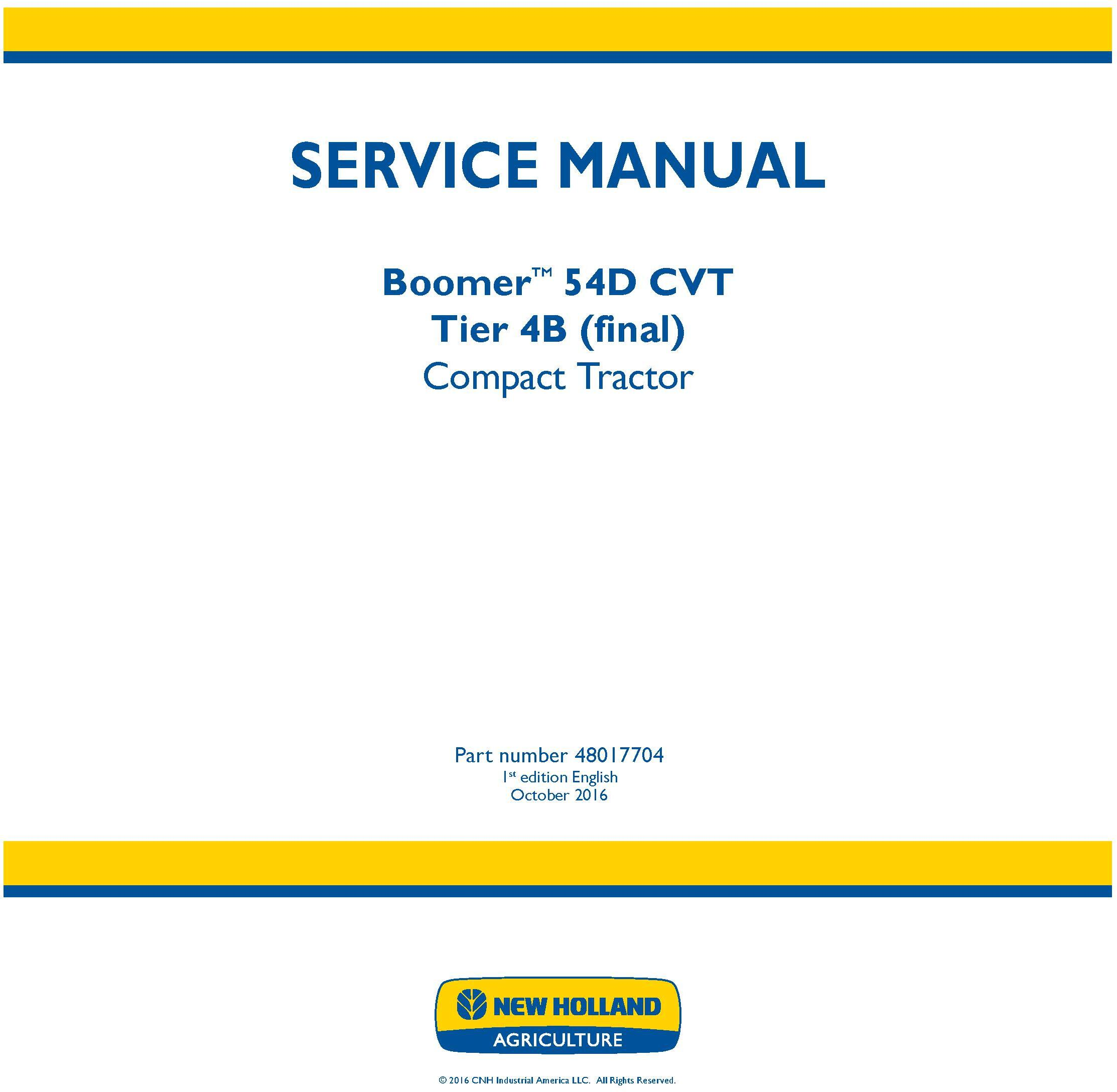 New Holland Boomer 54d Cvt Tier 4b  Final  Compact Tractor Service Manual    Deere Technical Manuals