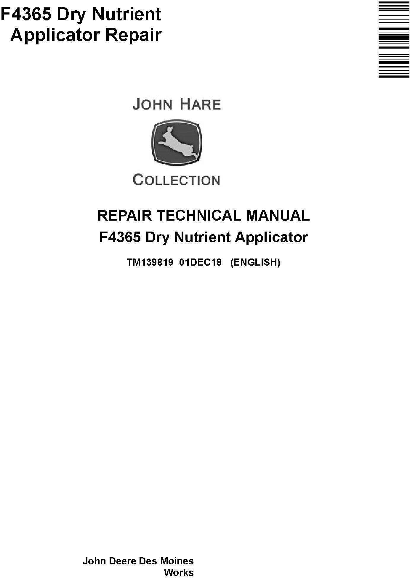 John Deere F4365 Applicator Repair Service Manual Manual Guide